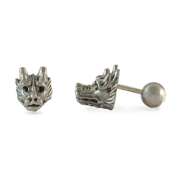 Sarah Dragon Face Silver Single Stud Earring for Men