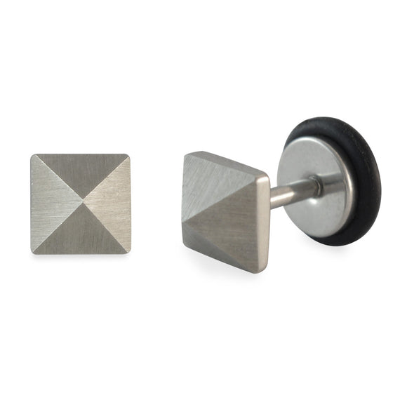 Sarah Square Silver Single Stud Earring for Men
