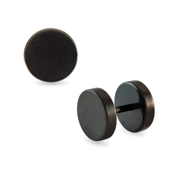 Sarah Round Black Single Stud Earring for Men