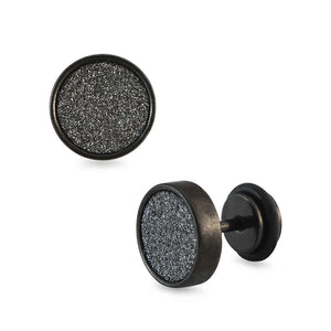 Sarah Glitter Black Single Stud Earring for Men