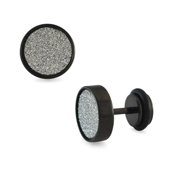 Sarah Silver Glitter Black Single Stud Earring for Men