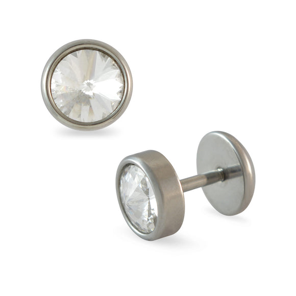 Sarah Faux Stone Silver Single Stud Earring for Men