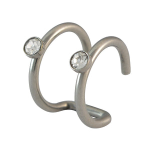 Sarah Stone Studded Circles Silver Single Cuff Earring for Men