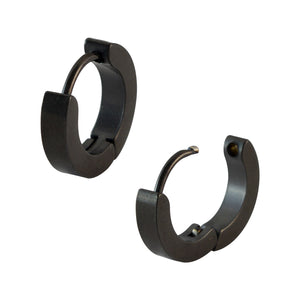 Sarah Plain Black Single Hoop Earring for Men (H: 14 mm, W: 3 mm)