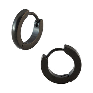 Sarah Plain Black Single Hoop Earring for Men (H: 12 mm, W: 2 mm)
