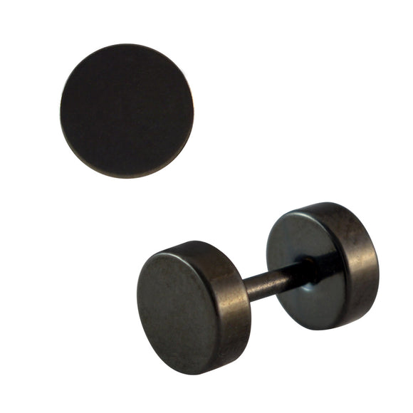 Sarah Plain Black Single Stud Earring for Men (H: 6 mm, W: 6 mm)