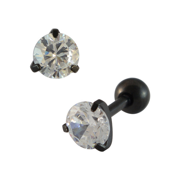 Sarah Stone Black Single Stud Earring for Men