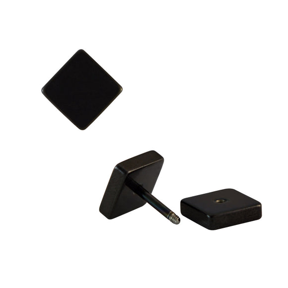 Sarah Plain Square Black Single Stud Earring for Men (H: 12 mm, W: 12 mm)