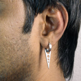 Sarah Dangling Triangle with Circles Single Hoop Earring for Men - Silver