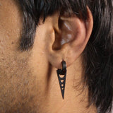 Sarah Dangling Triangle with Hearts Single Hoop Earring for Men - Black