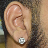 Sarah Star Stone Single Stud Earring for Men - Silver