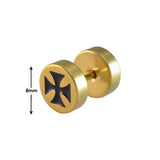 Sarah Cross Single Stud Earring for Men - Gold