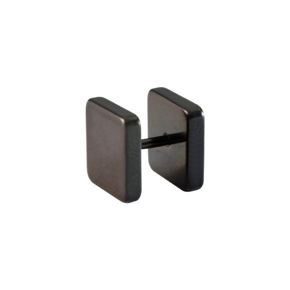 Sarah Plain Square Single Stud Earring for Men - Black