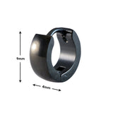 SARAH CHAIN SINGLE HOOP EARRING FOR MEN - BLACK, LENGTH: 9 MM, WIDTH: 4 MM