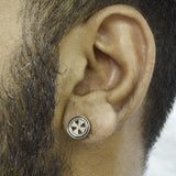 Sarah Cross Single Stud Earring for Men - Silver