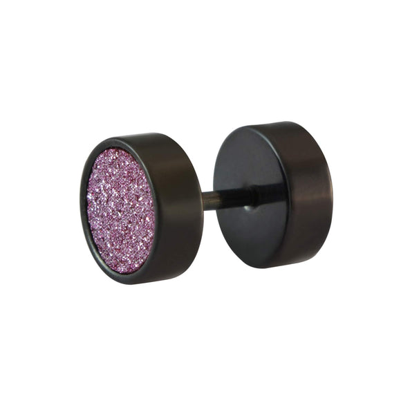Sarah Glitter Round Single Stud Earring for Men - Purple
