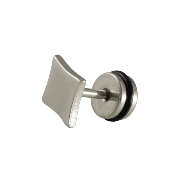 Sarah Diamond Shape Single Stud Earring for Men - Silver