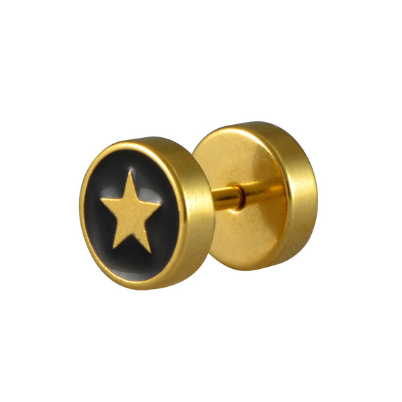 Sarah Lacquered Star Single Stud Earring for Men - Gold