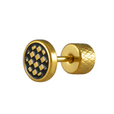 Sarah Lacquered Checks Single Stud Earring for Men