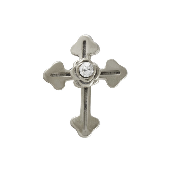 Sarah Cross with Rhinestone Single Stud Earring for Men - Silver
