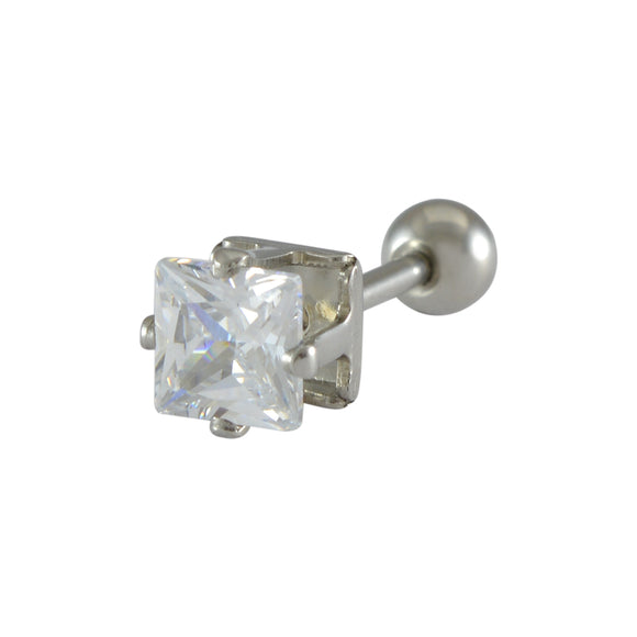 Sarah Diamond Square Single Stud Earring for Men - Silver