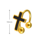 Sarah Cross Style Single Hoop Jacket Earring for Men - Gold Color