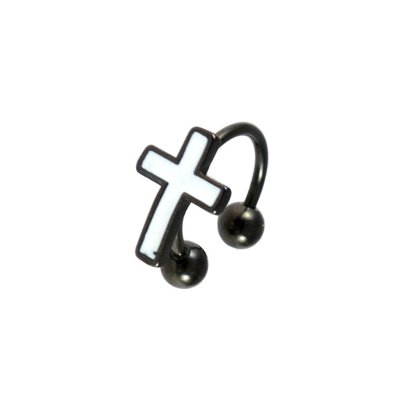 Sarah Cross Style Single Hoop Jacket Earring for Men - Black Color