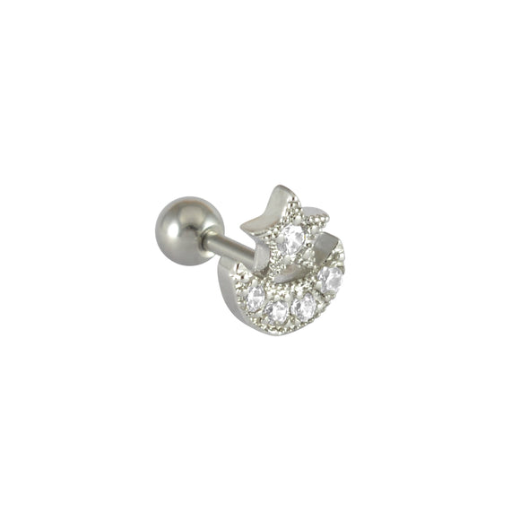 Sarah Rhinestone Islamic Symbol Single Stud Earring for Men - Silver Color