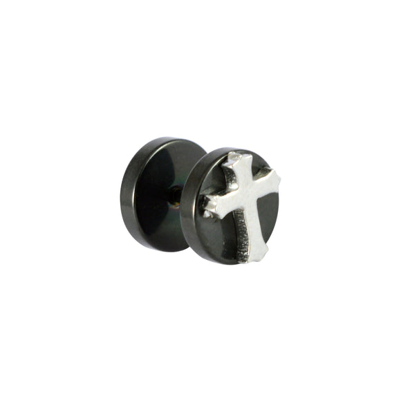 Sarah Cross Symbol Single Stud Earring for Men - Black Color