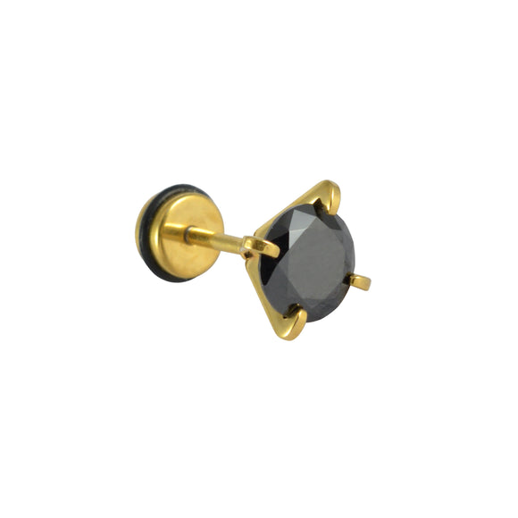 Sarah Rhinestone Single Stud Earring for Men - Black Color
