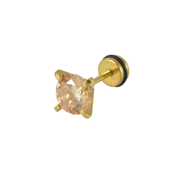 Sarah Rhinestone Single Stud Earring for Men - Brown Color