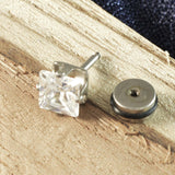 Sarah Square Rhinestone Single Stud Earring for Men - Silver Color