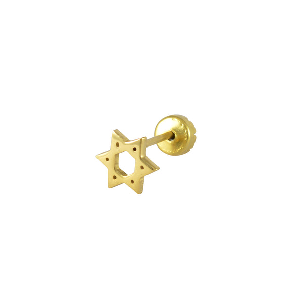 Sarah Star Single Stud Earring for Men - Gold Color