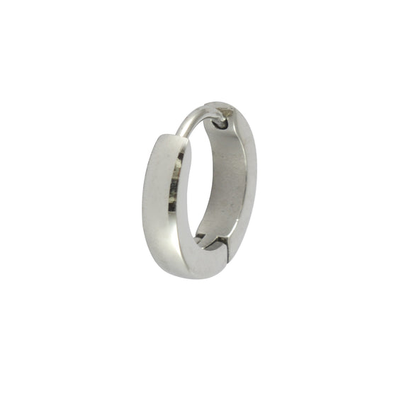 Sarah Plain Round Single Hoop Earring for Men - Silver Color