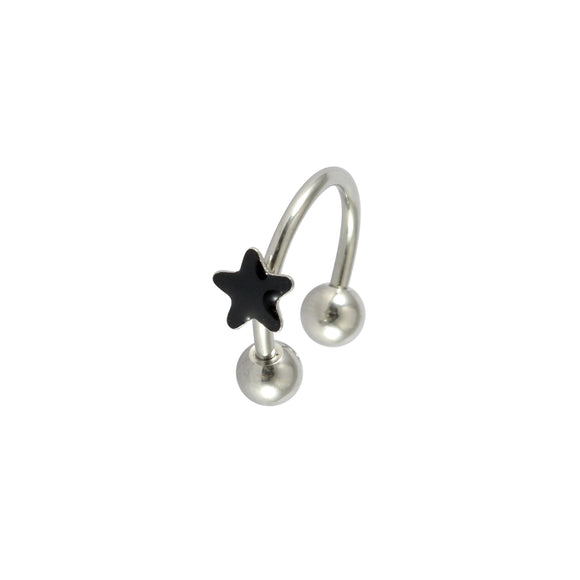 Sarah Lacquered Star Single Hoop Earring for Men - Silver Color