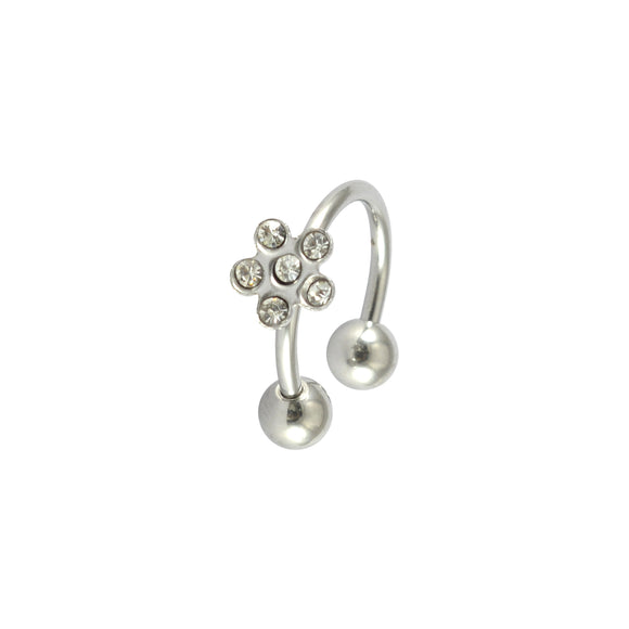 Sarah Floral Rhinestone Single Hoop Earring for Men - Silver Color