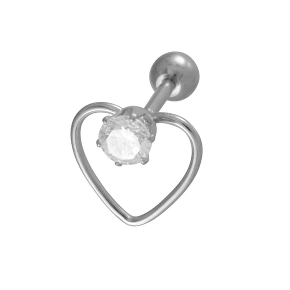 Sarah Heart Shape Single Stud Earring for Men - Silver