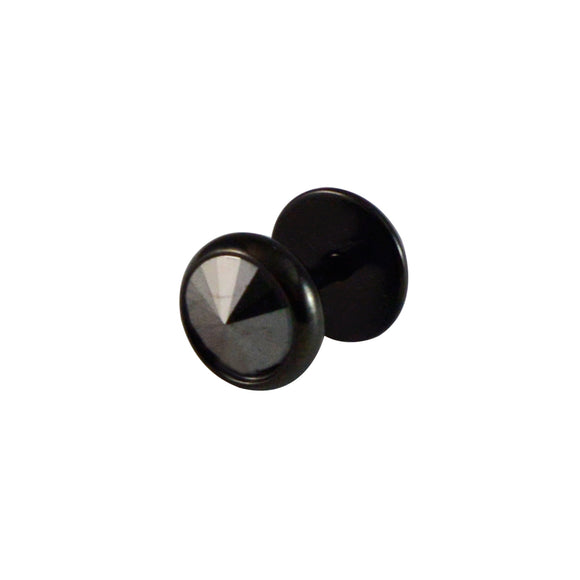 Sarah Round Shape Single Stud Earring for Men - Black Color