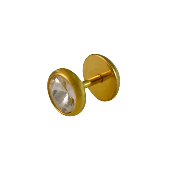 Sarah Round Shape Single Stud Earring for Men - Gold Color