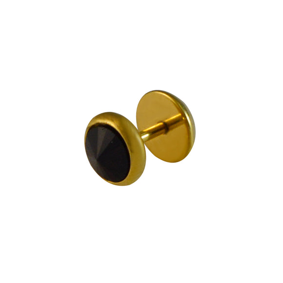 SARAH 8MM Mens Gold Stud Earrings with Black Cone-Shaped Rhinestone for men - Black & Gold