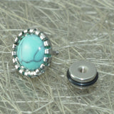 Sarah Mens Stainless Steel Stud Earrings with Synthetic Turquoise Round Men Earring
