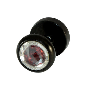 Sarah Red Color Stone in Black Finish Stud Earring for Men