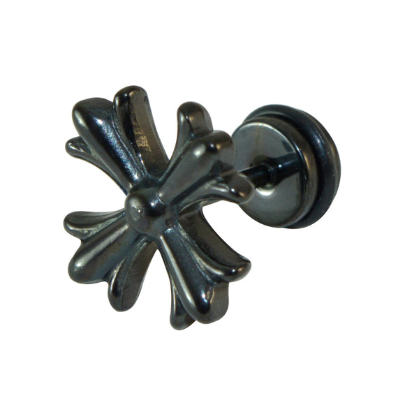 Sarah Unique Cross Black Finish Stainless Stud Earring for Men