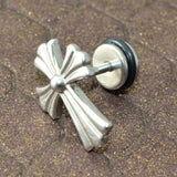 Sarah Unique Cross Silver Finish Stainless Stud Earring for Men