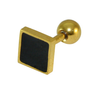 Sarah Square Shaped Stud with Black Enamel Stud Earring for Men