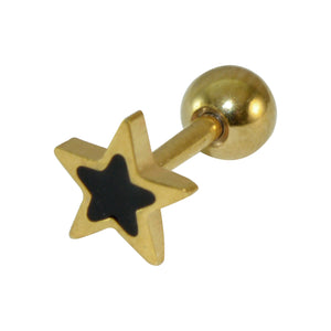 Sarah Star Shaped Stud with Black Enamel Stud Earring for Men