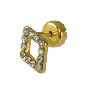 Sarah Diamond Shaped Golden Stud with Rhinestones Stud Earring for Men