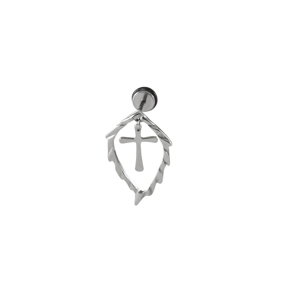 Sarah Stainless Steel Leaf with Hanging Cross Stud Earring for Men