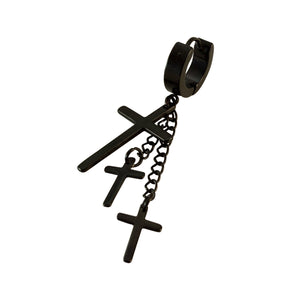 Sarah Black Stainless Steel Triple Latin Cross Charm Long Chain Drop Hoop Huggie Earrings for Men