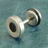 Sarah Lacquered Single Round Stud Earring for Men - Silver